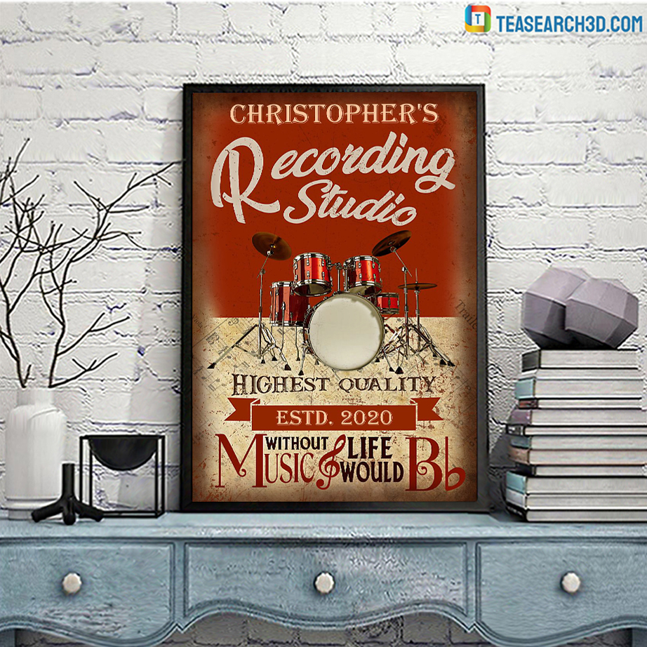 Personalized drum without music recording studio poster A3