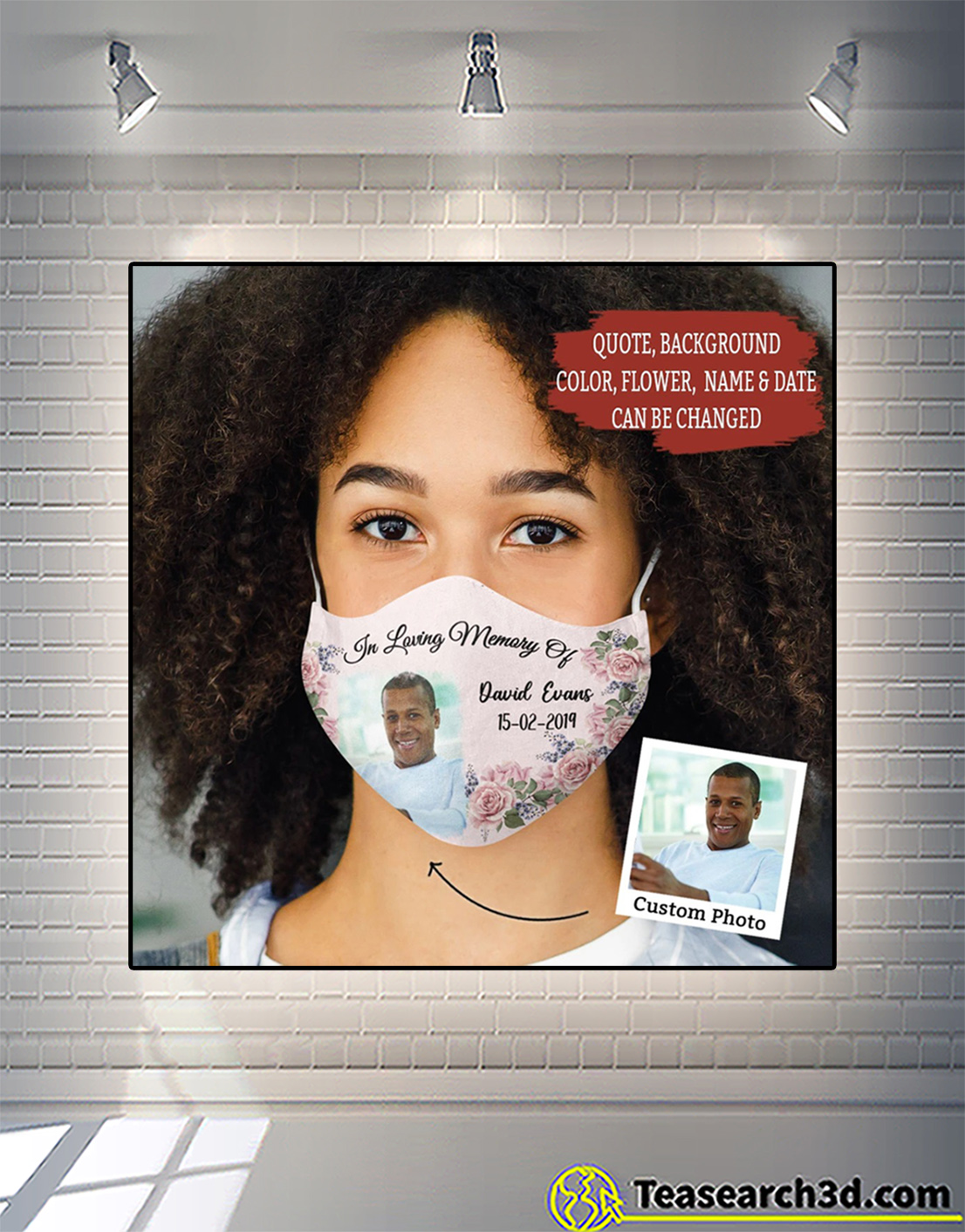 Personalized floral in loving memory face mask 2