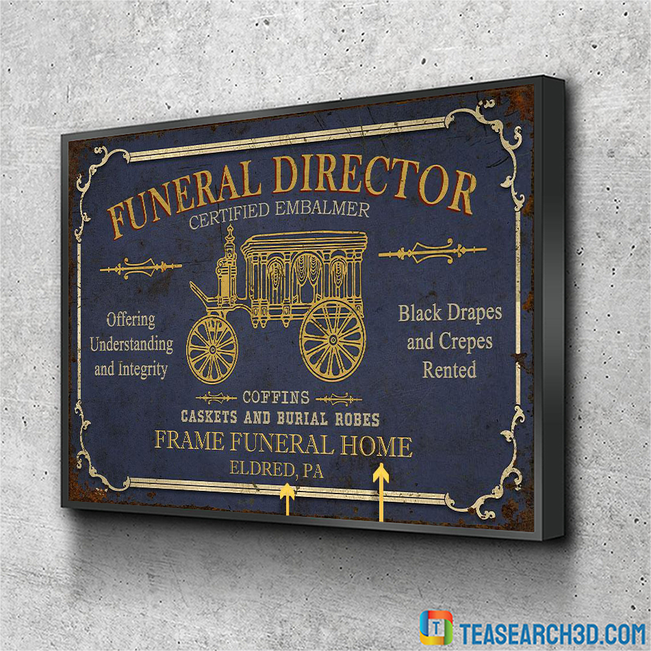 Personalized funeral director certified embalmer customized poster A1