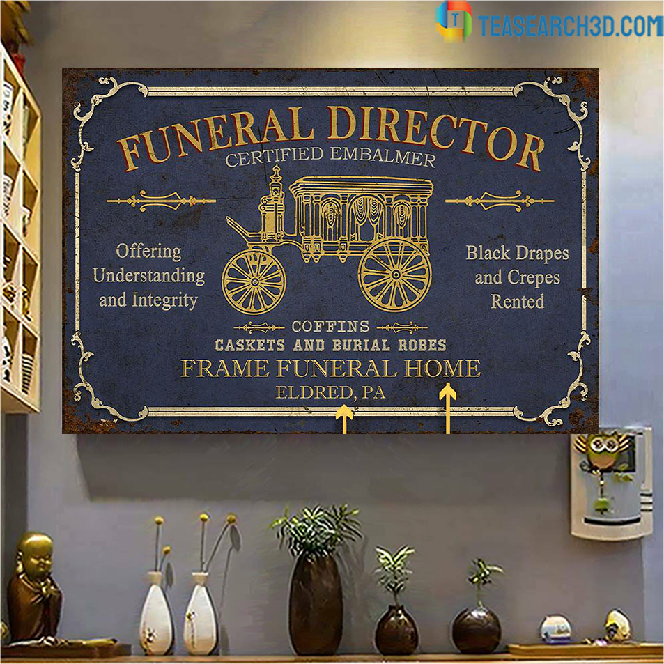 Personalized funeral director certified embalmer customized poster A3