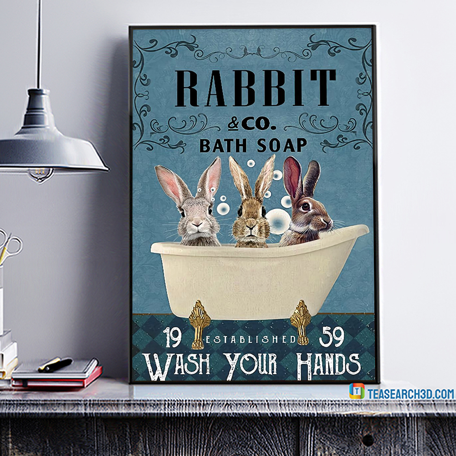 Rabbit co bath soap wash your hands poster A1
