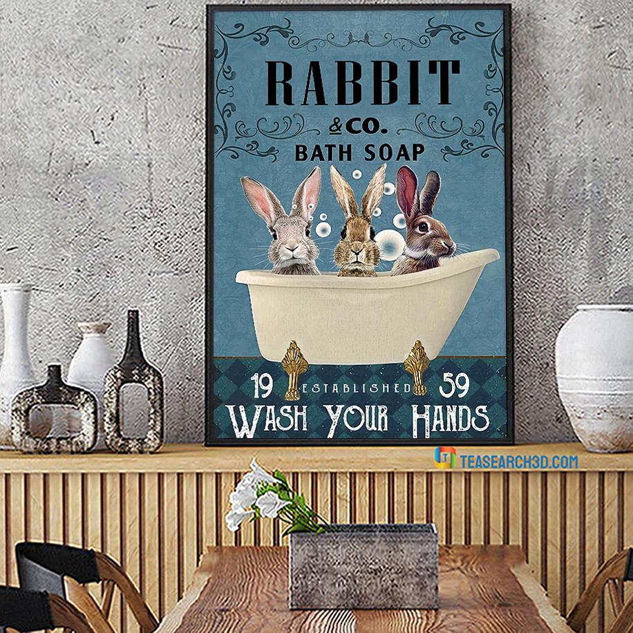 Rabbit co bath soap wash your hands poster A2