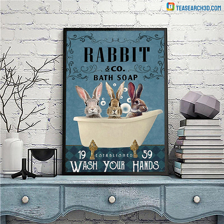 Rabbit co bath soap wash your hands poster A3