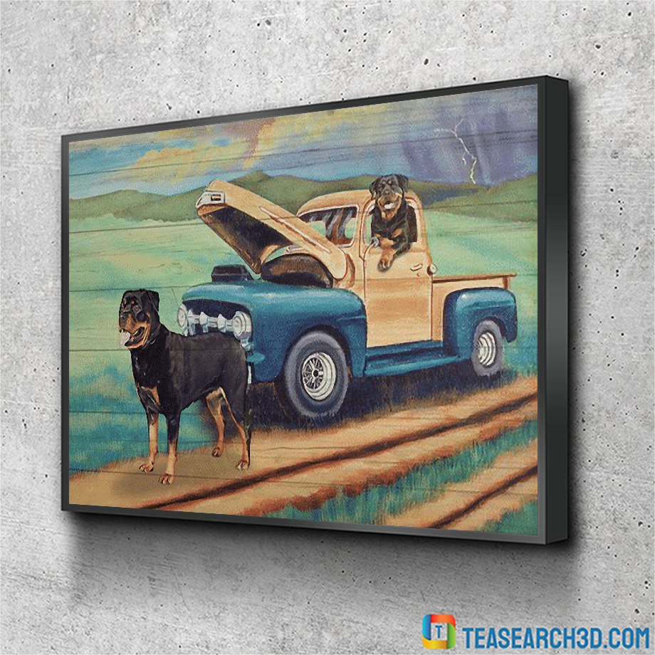 Rottweiler on a car coming home canvas small