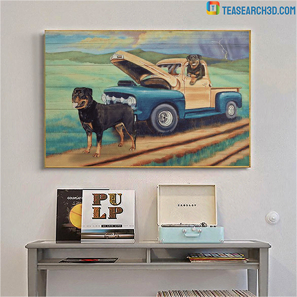 Rottweiler on a car coming home canvas