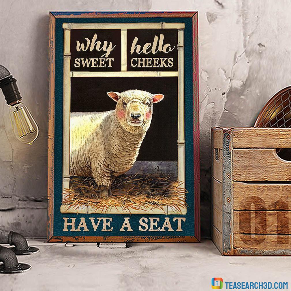 Sheep bathroom why hello sweet cheeks have a seat canvas