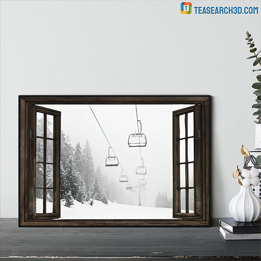 Skiing aerial tramway window poster A3