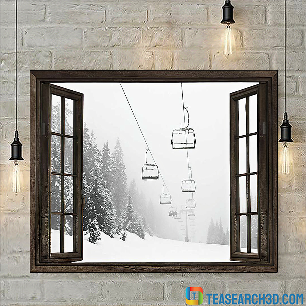 Skiing aerial tramway window poster