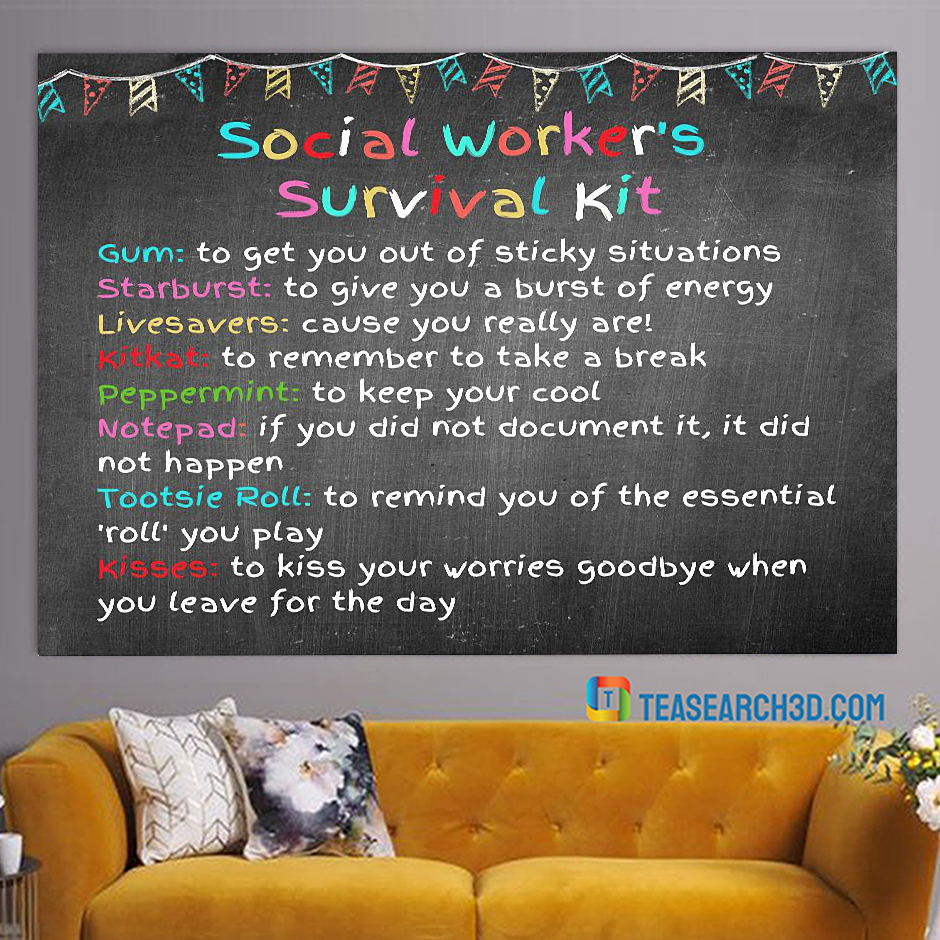 Social worker survival Social worker survival kit poster A1kit poster A1