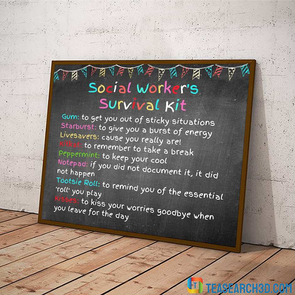 Social worker survival kit poster A2