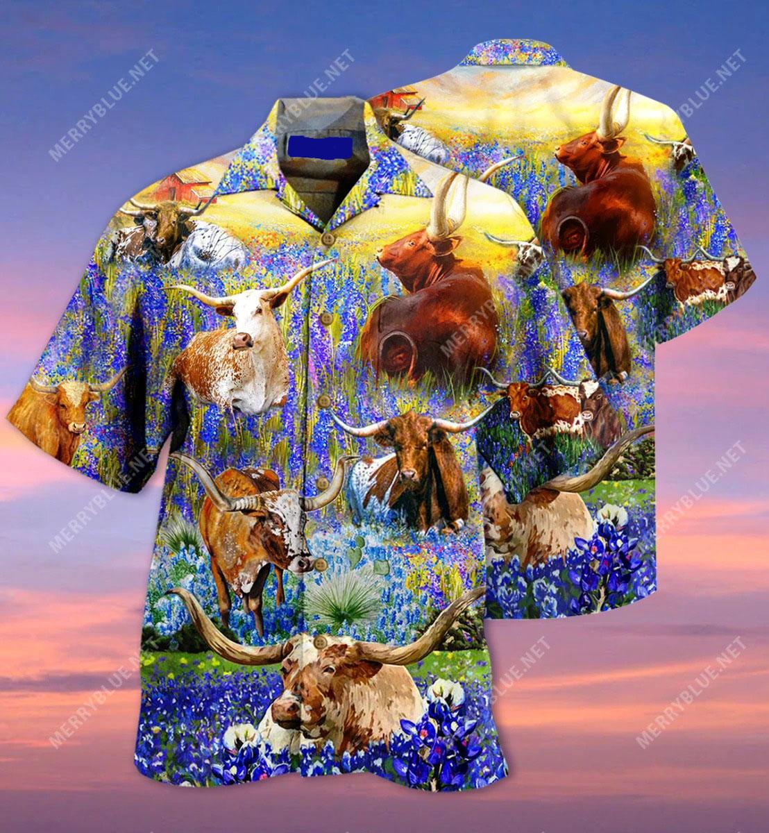 Texas longhorn in bluebonnets unisex hawaiian shirt