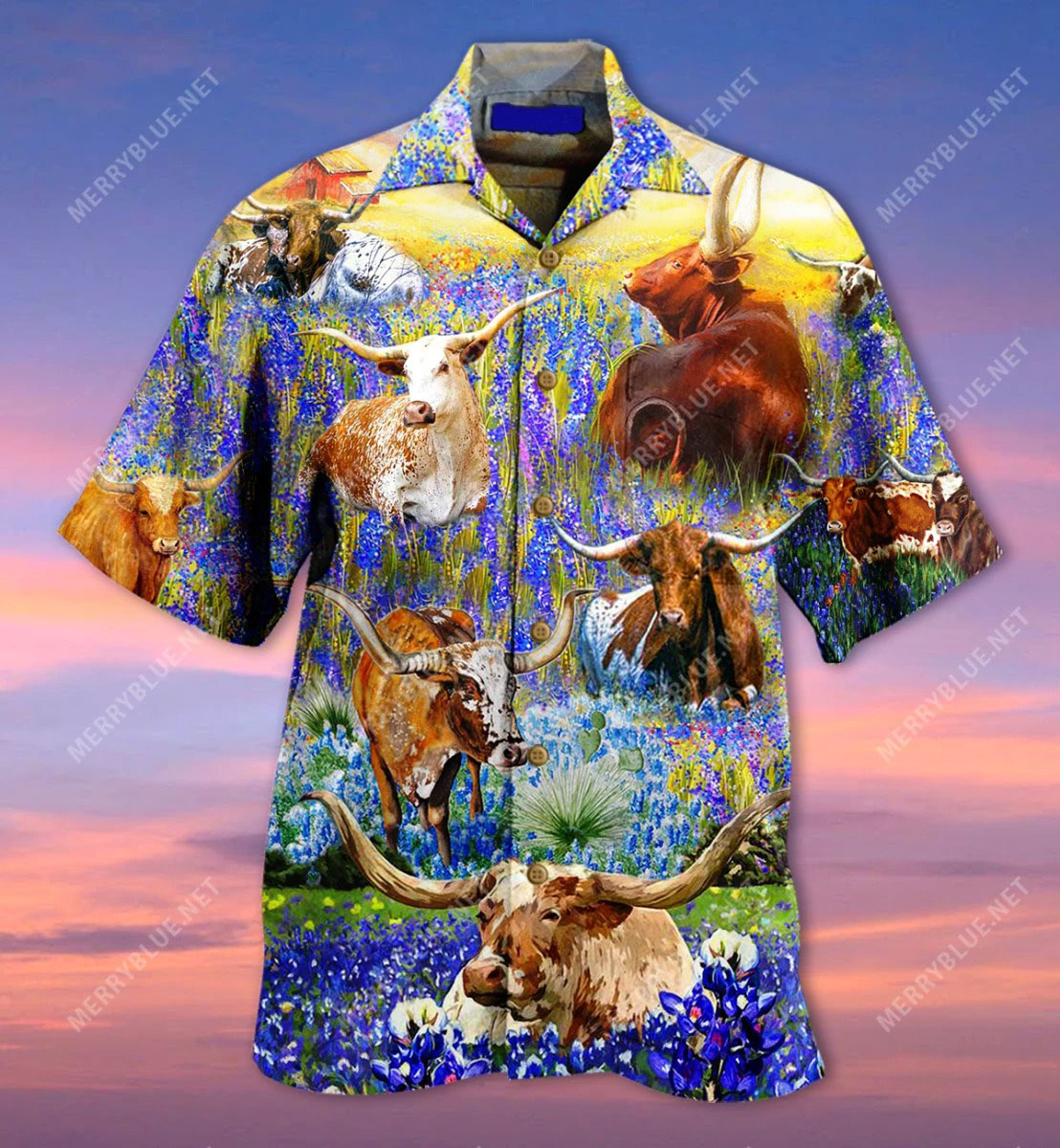 Texas longhorn in bluebonnets unisex hawaiian shirt front