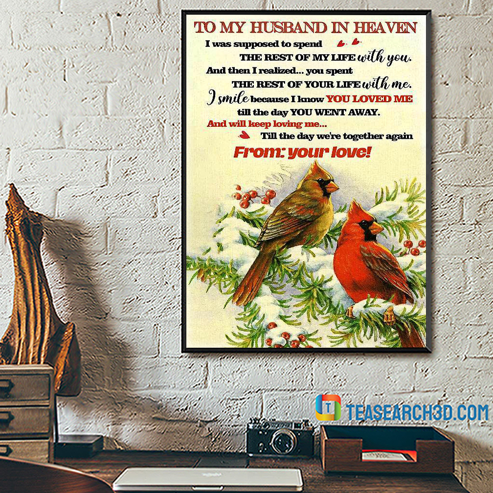 To my husband in heaven cardinal poster