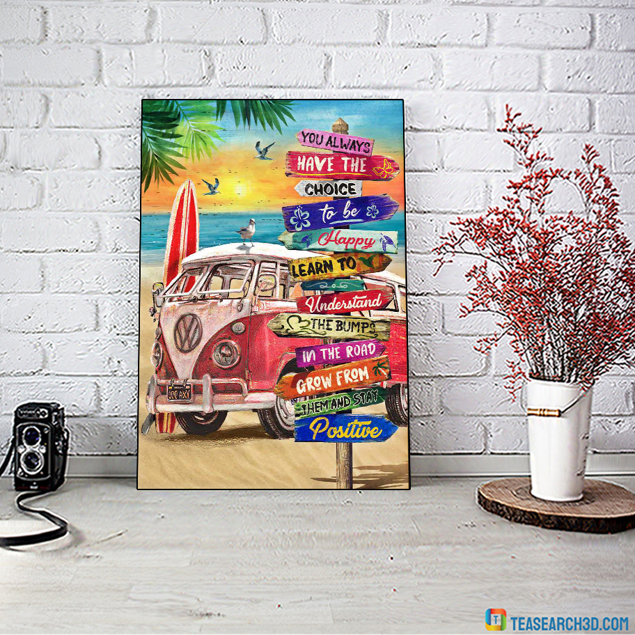 You always have the choice to be happy road sign canvas large