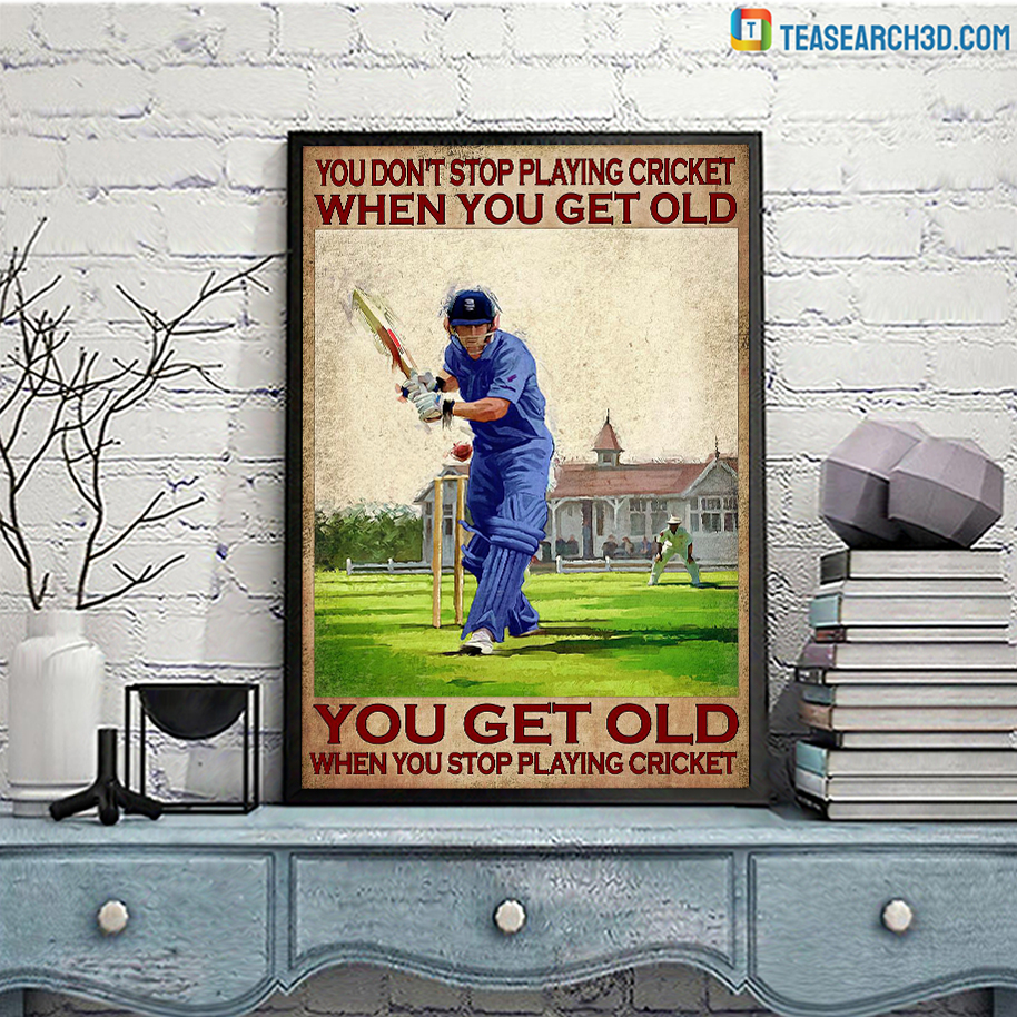You don't stop playing cricket when you get old poster A3