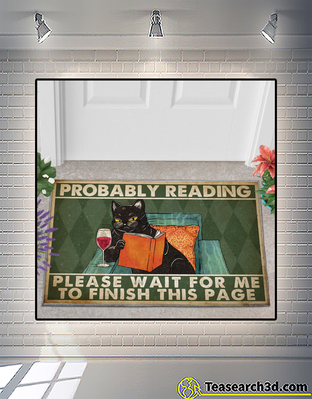 Cat probably reading please wait for me to finish this page doormat