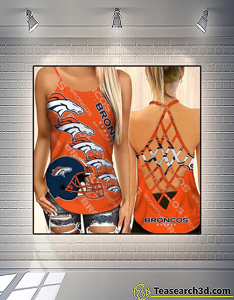 Denver broncos criss cross tank top and leggings 1