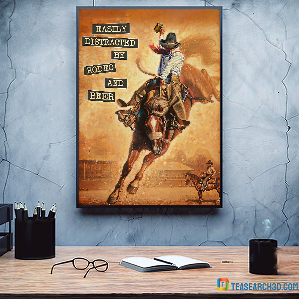 Easily distracted by rodeo and beer vintage text poster