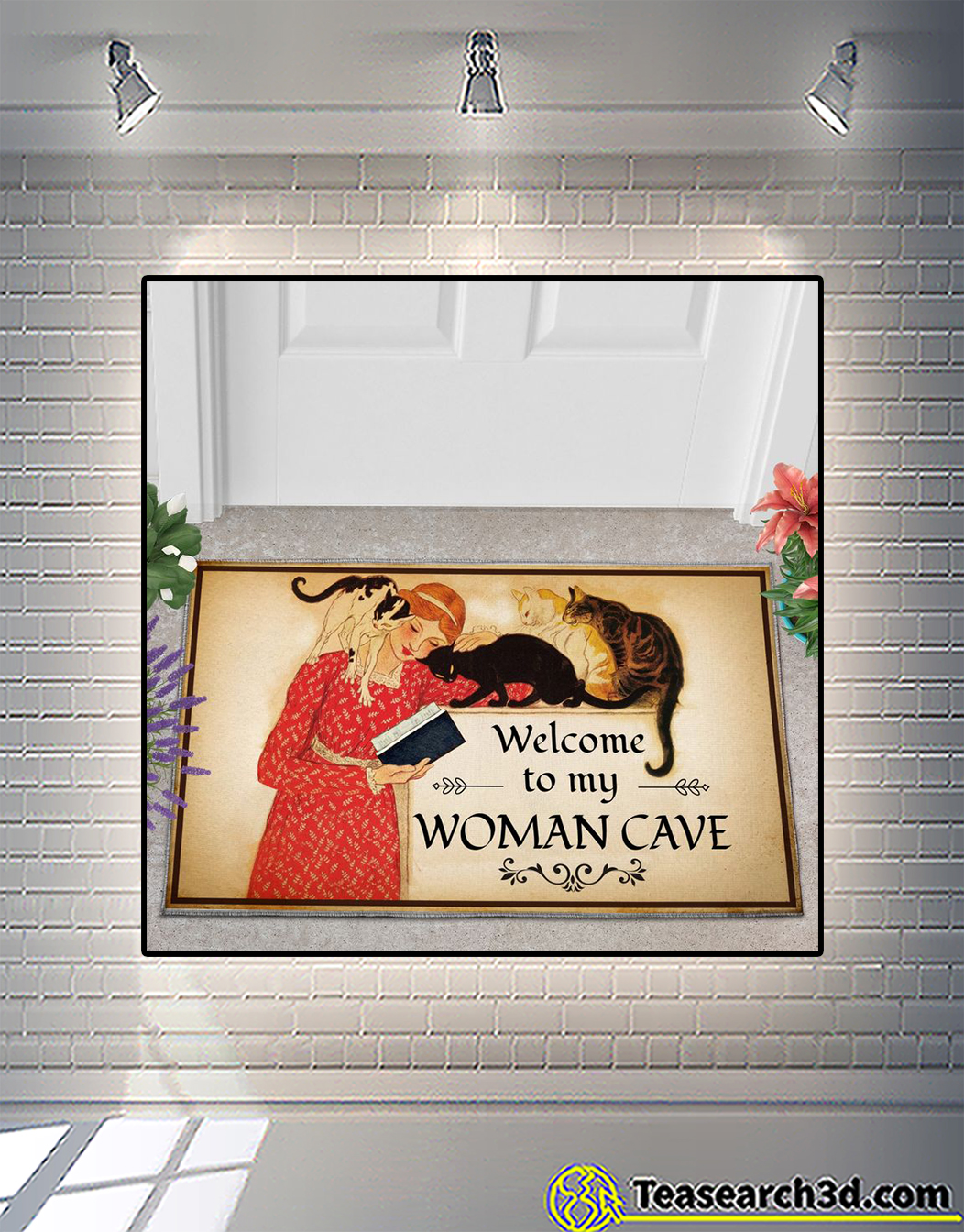 Girl and cat welcome to my woman cave doormat