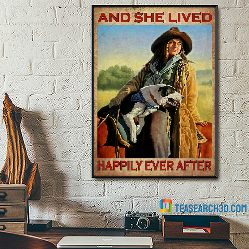 Girl dog and horse and she lived happily ever after poster A3