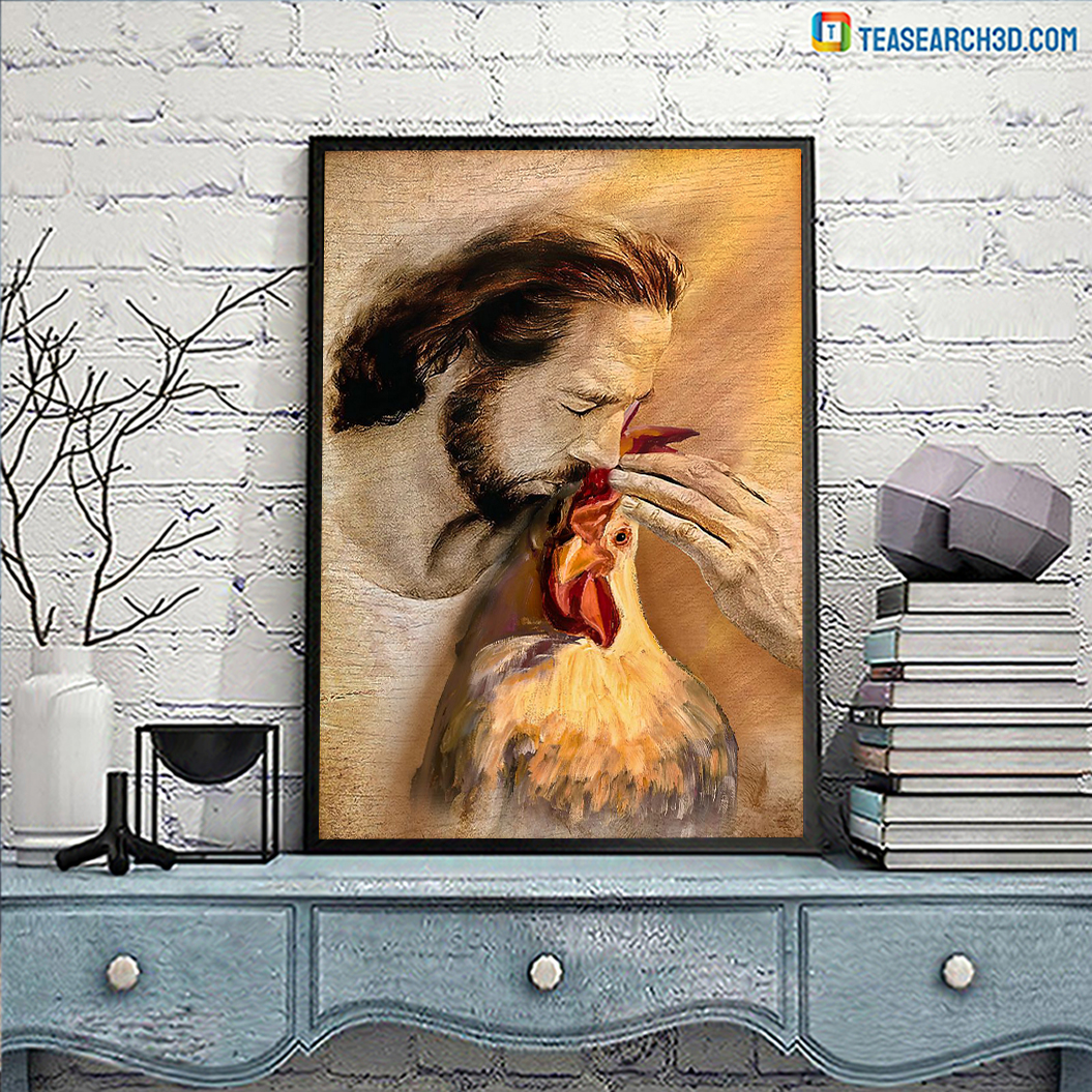 God With Lovely Rooster Poster