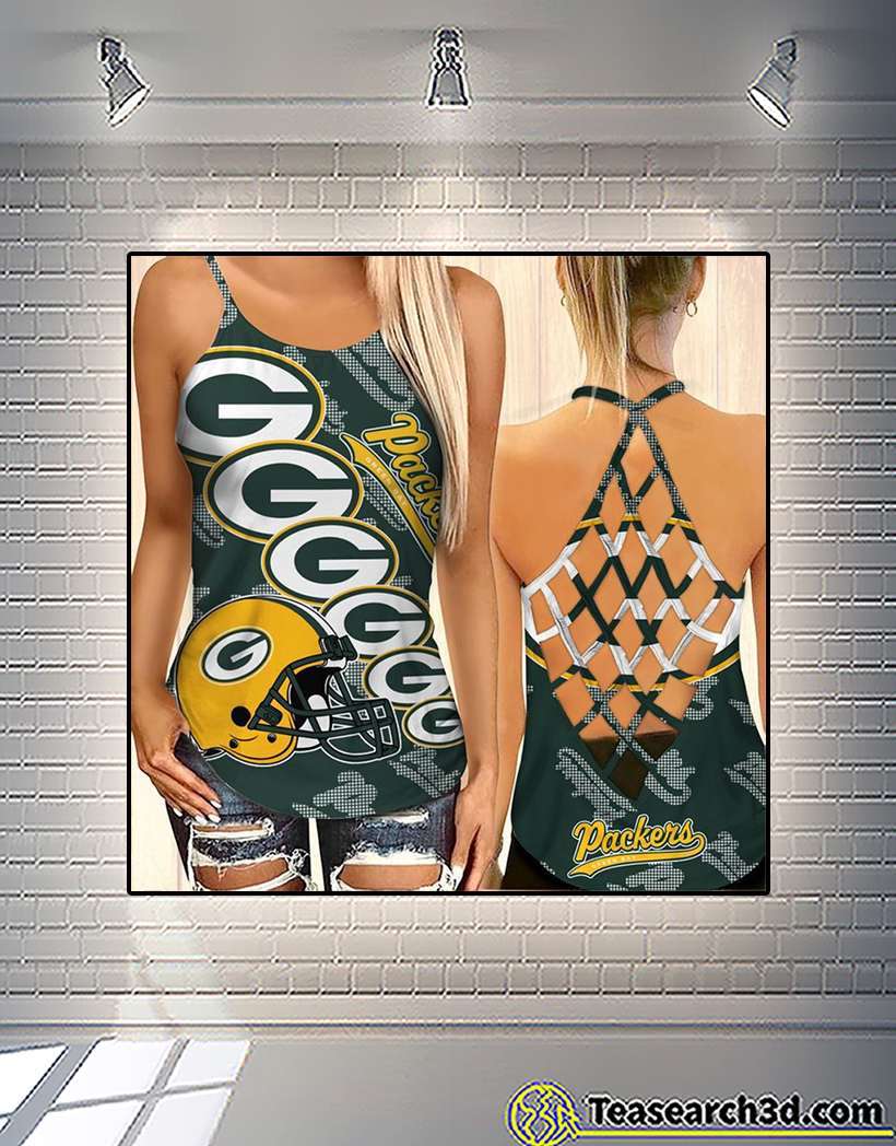 Green bay packers criss cross tank top and leggings 1