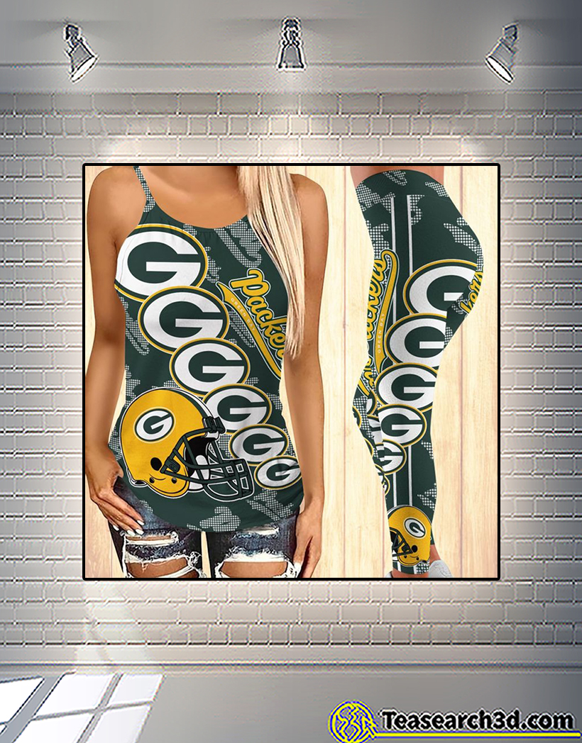 Green bay packers criss cross tank top and leggings 2