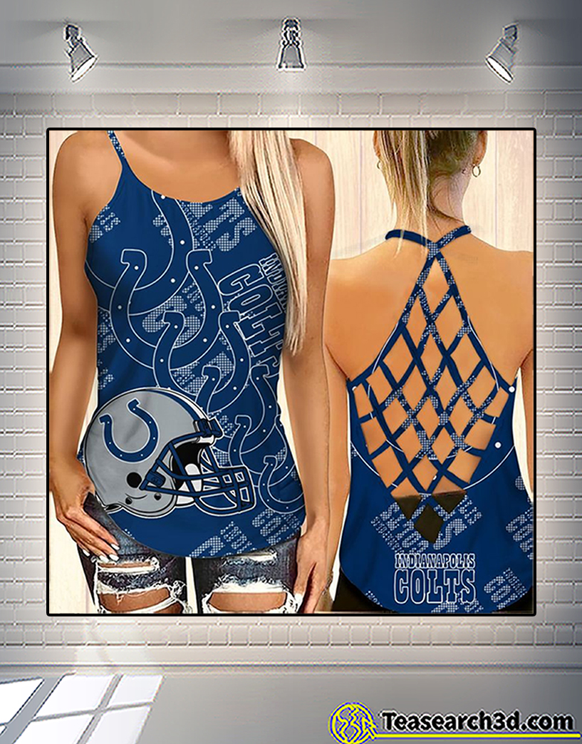 Indianapolis colts criss cross tank top and leggings 1