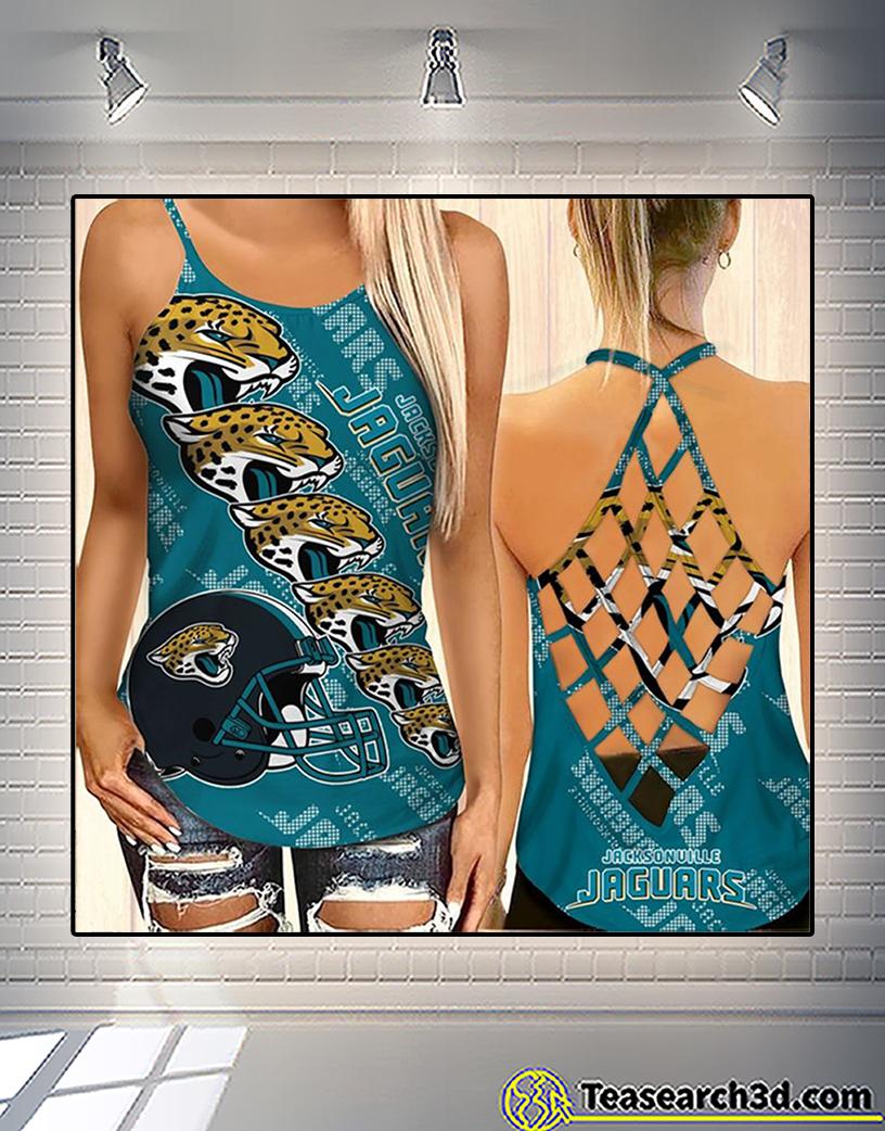 Jacksonville jaguars criss cross tank top and leggings 1