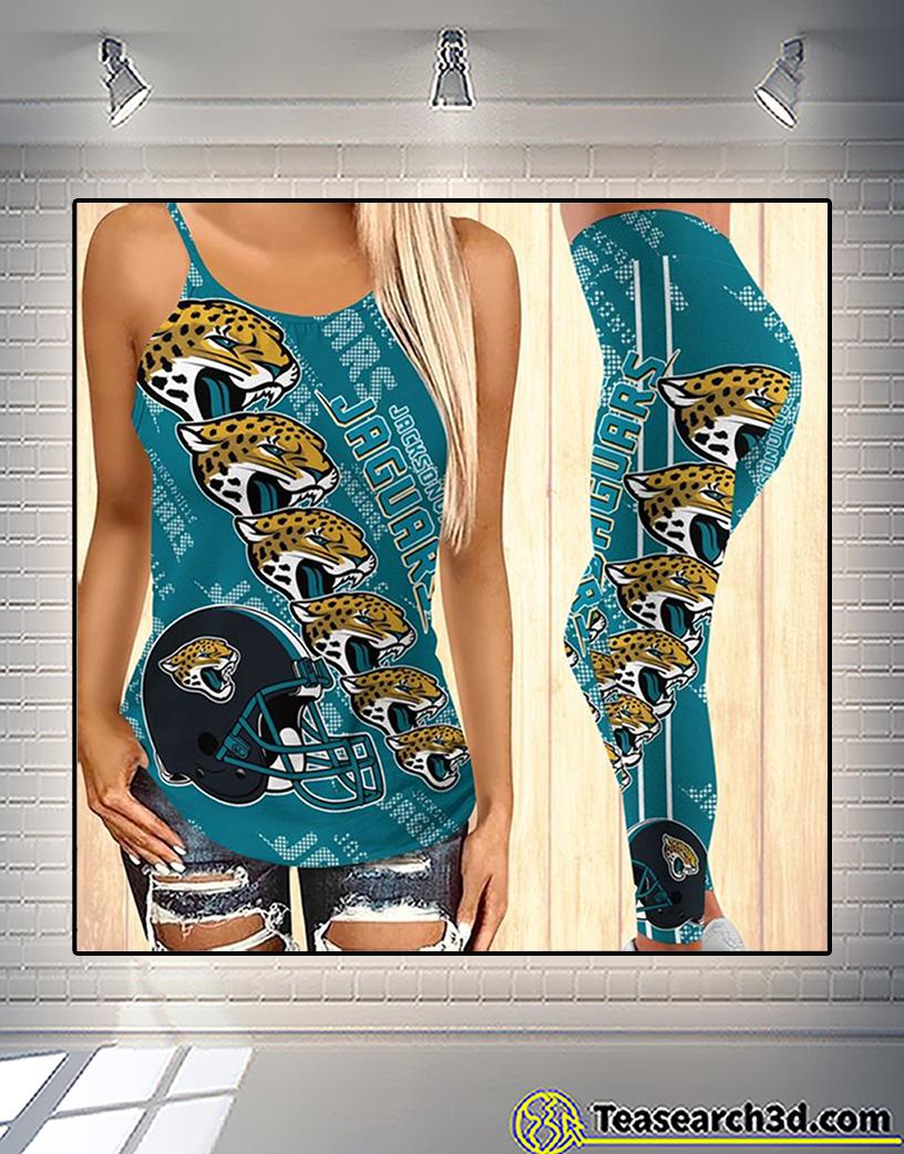 Jacksonville jaguars criss cross tank top and leggings 2