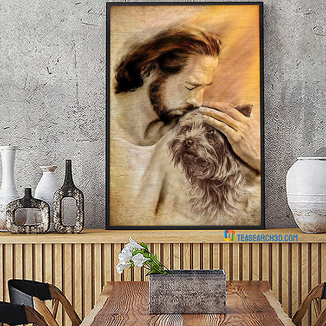 Jesus With Lovely Yorkshire Terrier Poster