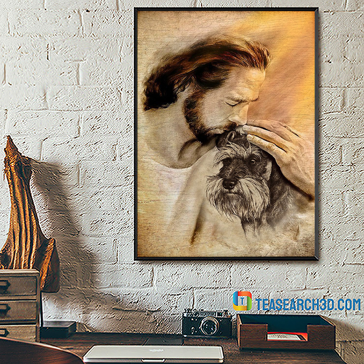 Jesus with lovely schnauzer poster A1