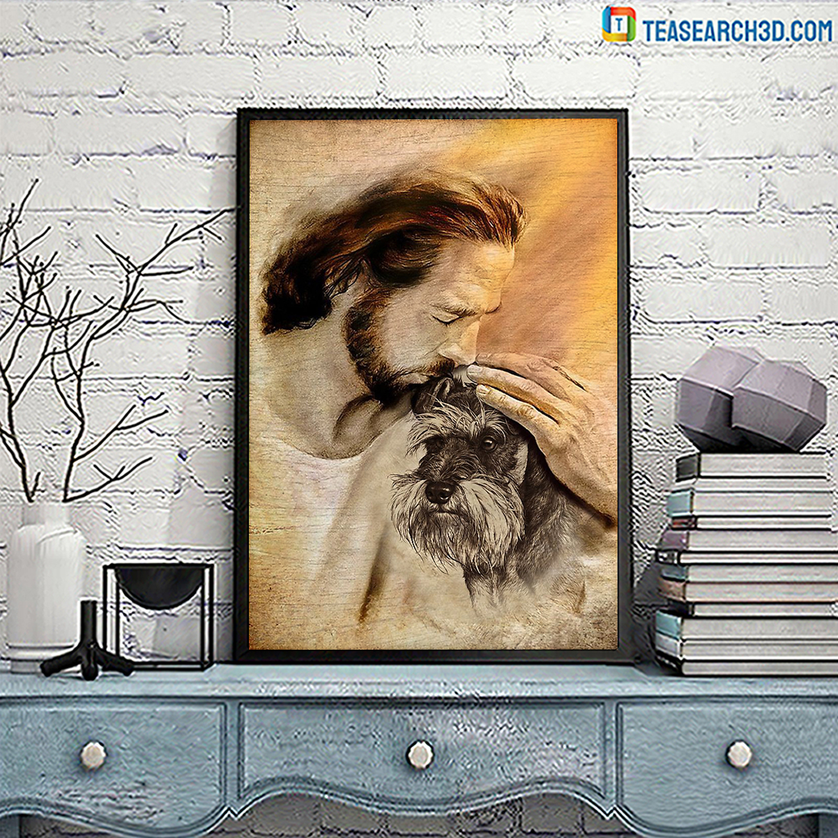 Jesus with lovely schnauzer poster A2