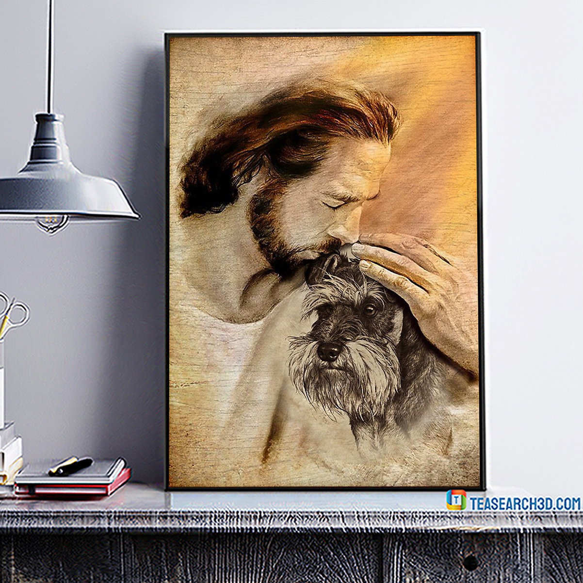 Jesus with lovely schnauzer poster A3