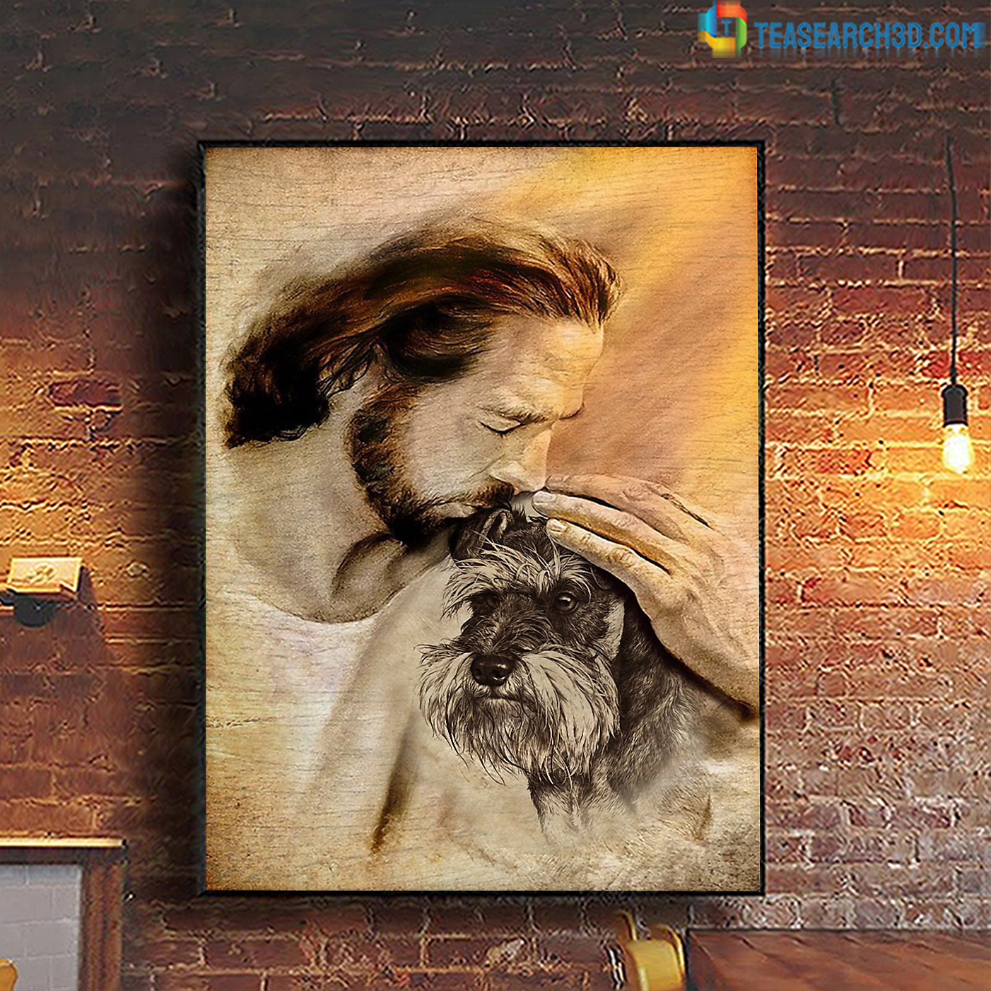 Jesus with lovely schnauzer poster