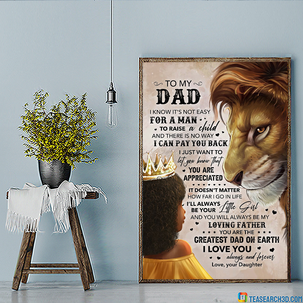 Lion Daughter To My Dad Poster A3