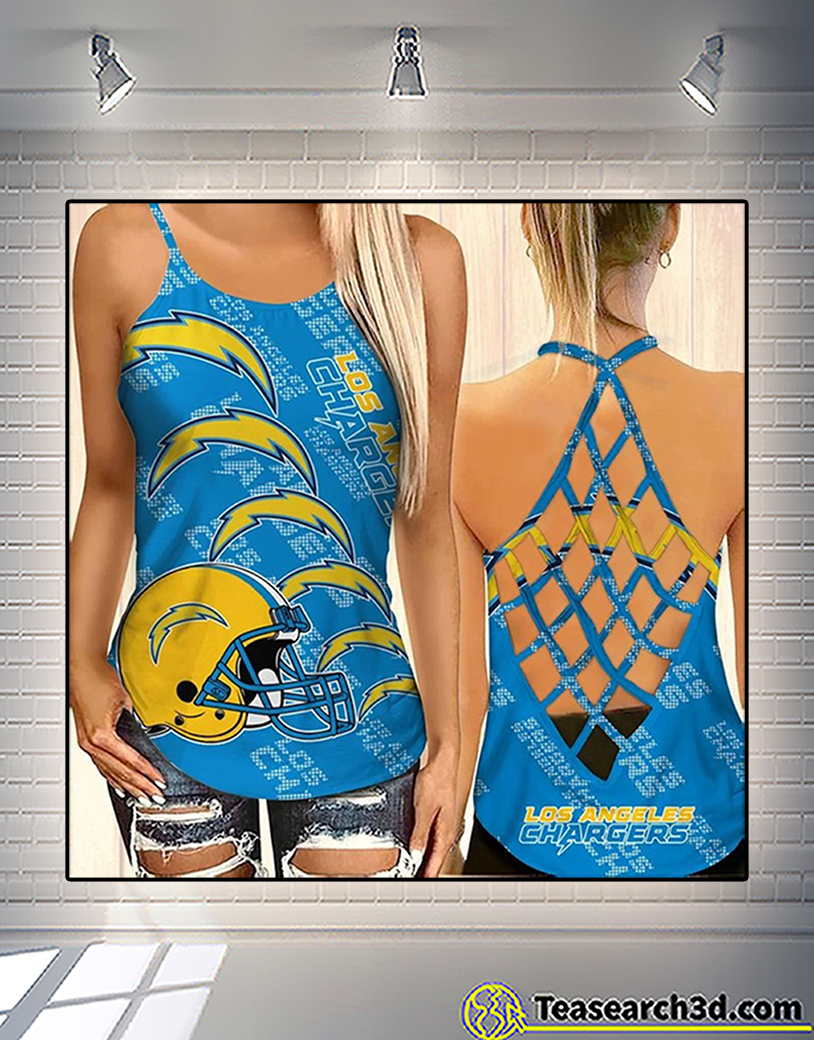Los angeles chargers criss cross tank top and leggings 1