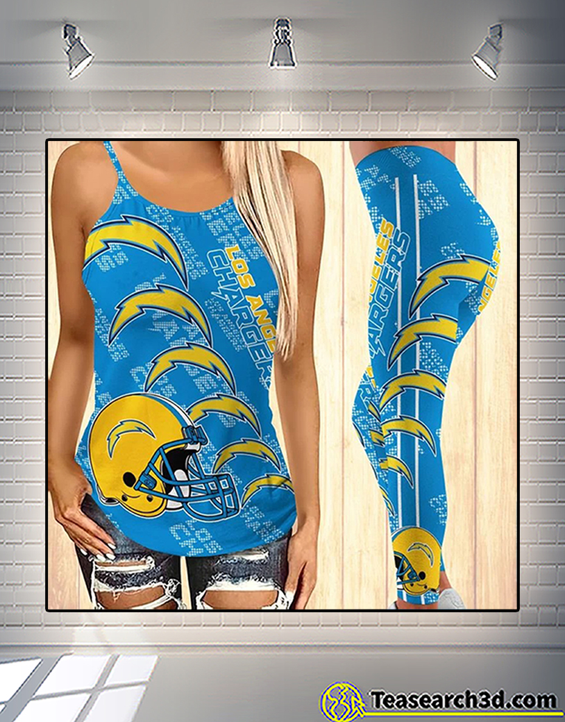 Los angeles chargers criss cross tank top and leggings 2