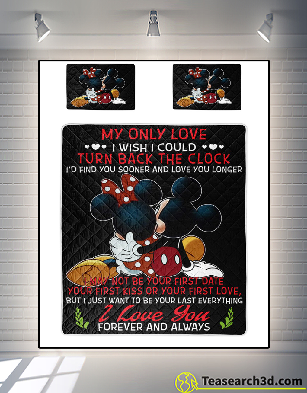 Mickey and minnie my only love I wish I could turn back the clock quilt bed set