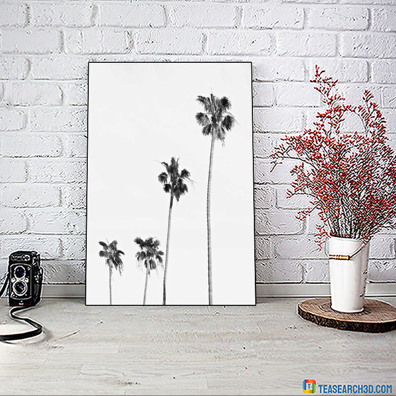 Palm tree black and white poster A1