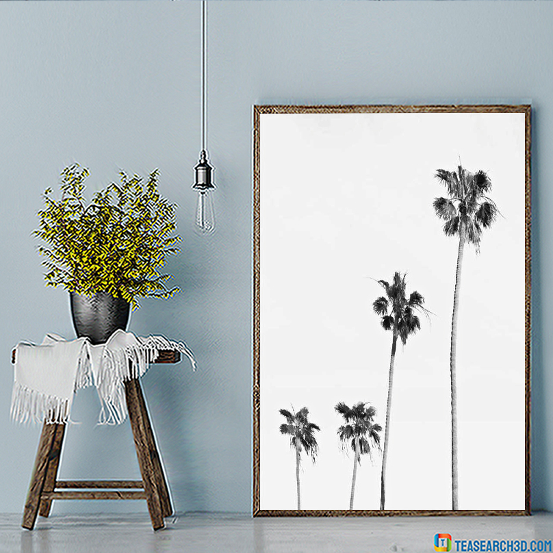 Palm tree black and white poster A2