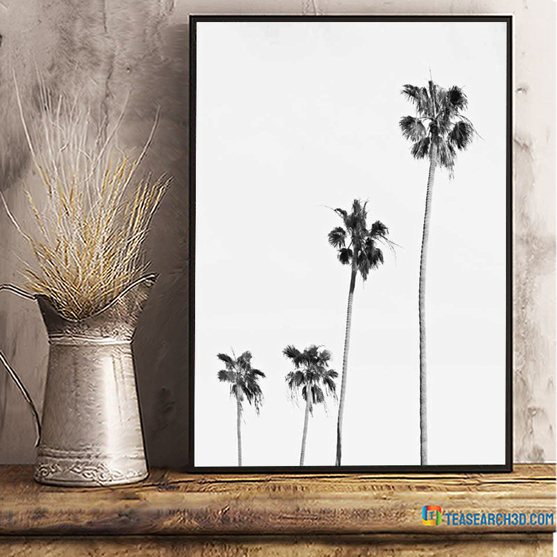 Palm tree black and white poster A3