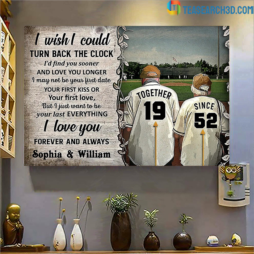Personalized baseball I wish I could turn back the clock poster A1