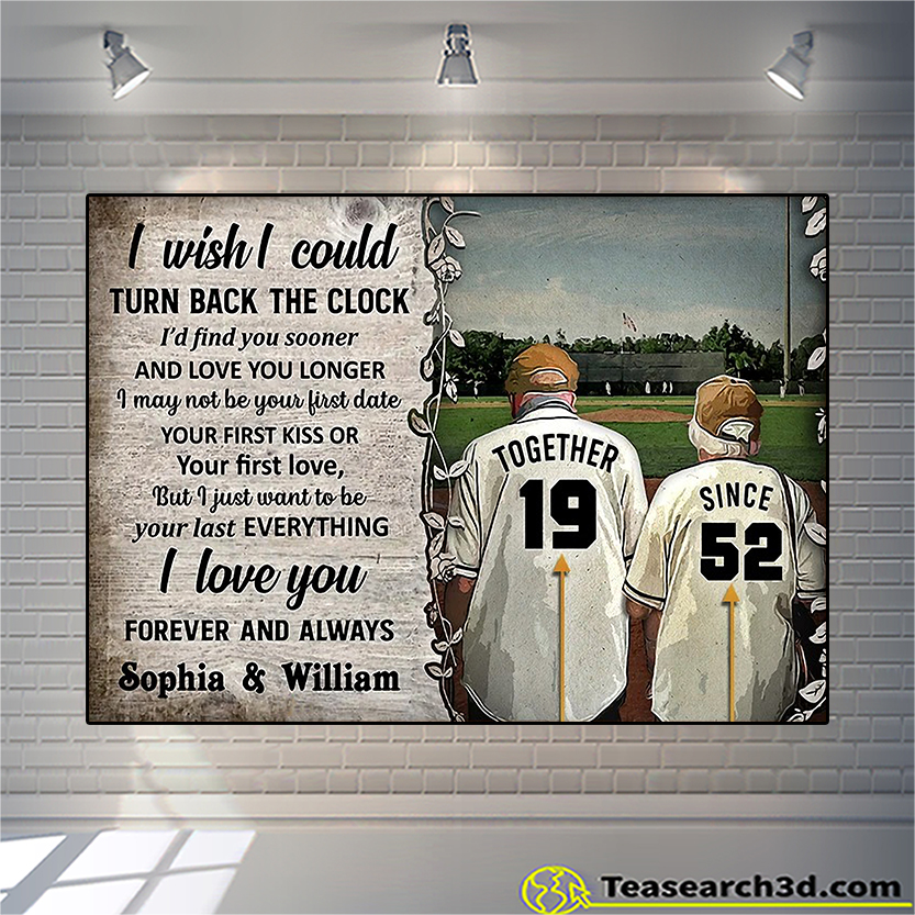 Personalized baseball I wish I could turn back the clock poster A2