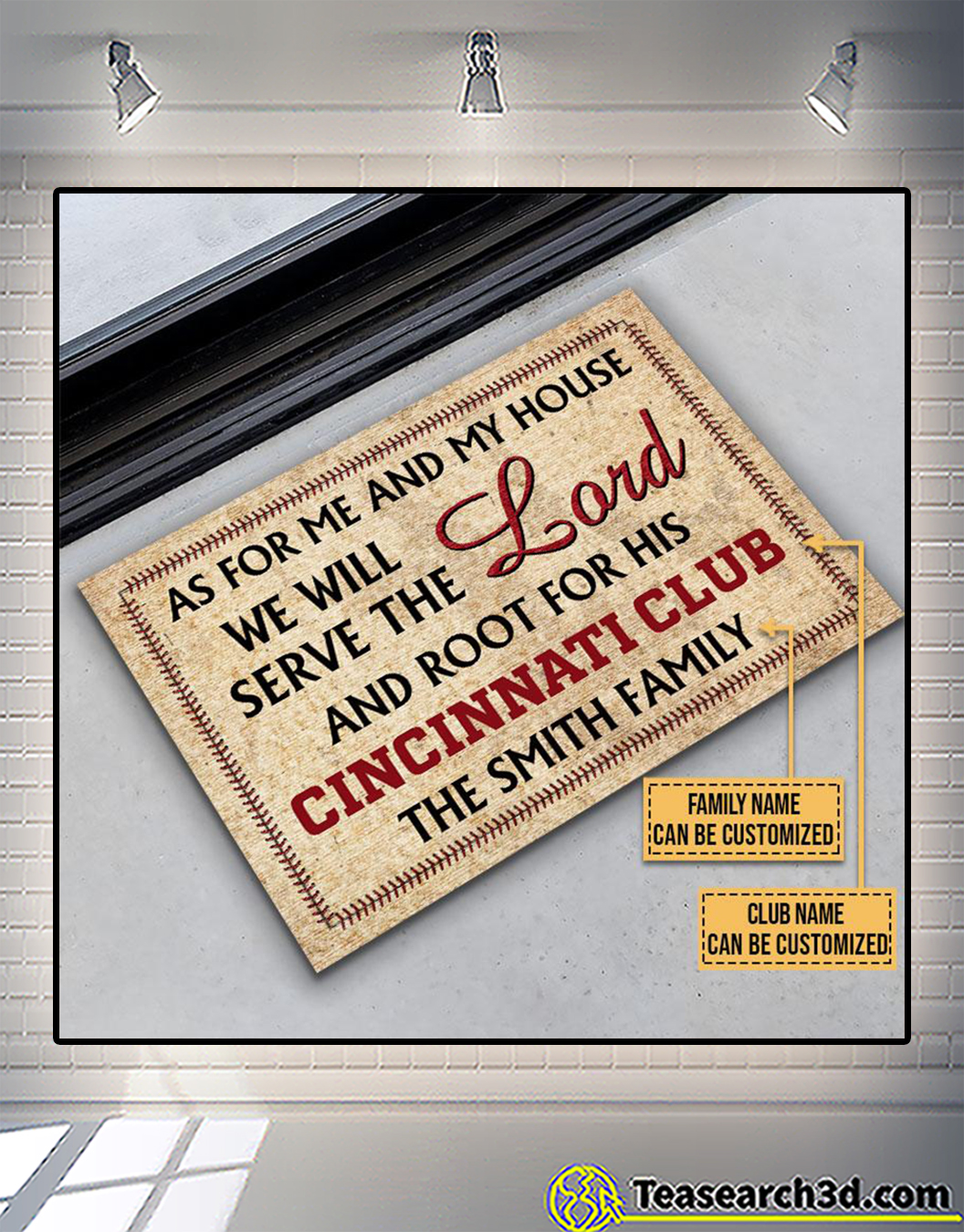 Personalized baseball as for me and my house we will serve the lord doormat 2