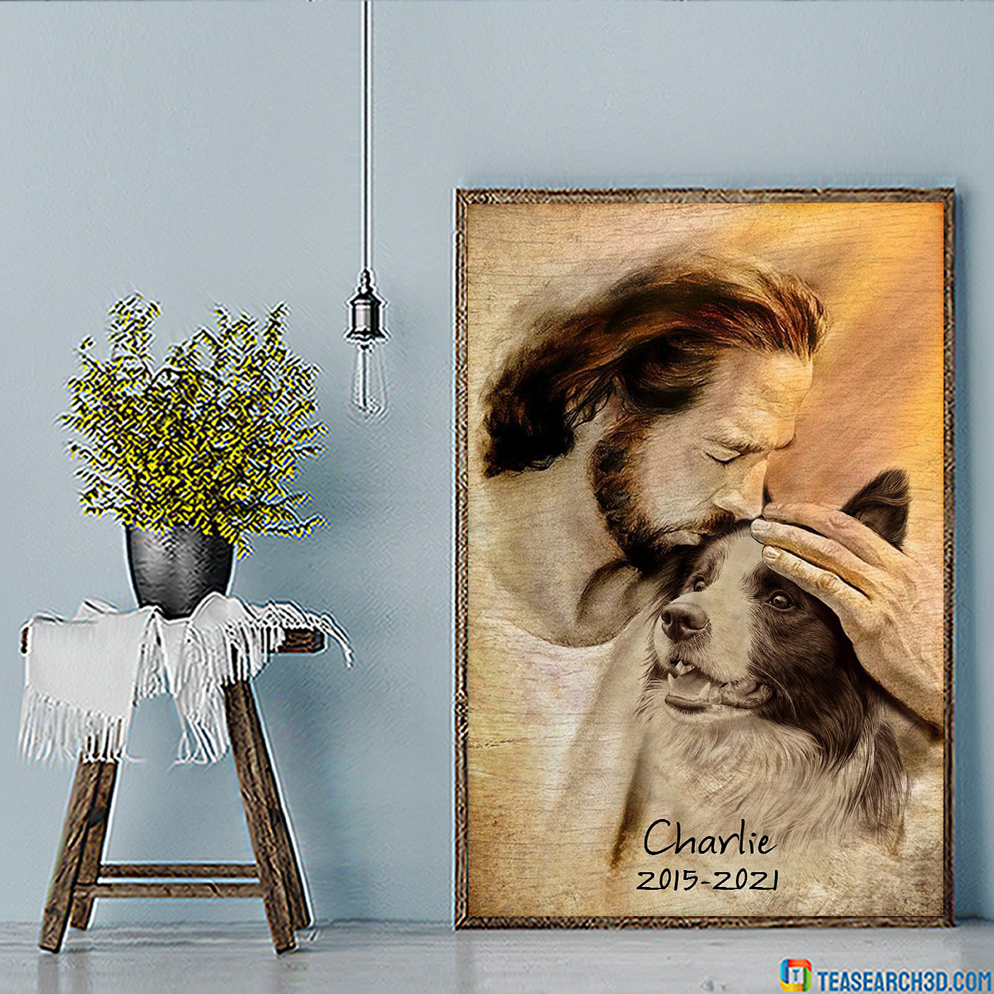 Personalized custom name Jesus with lovely Border collie poster