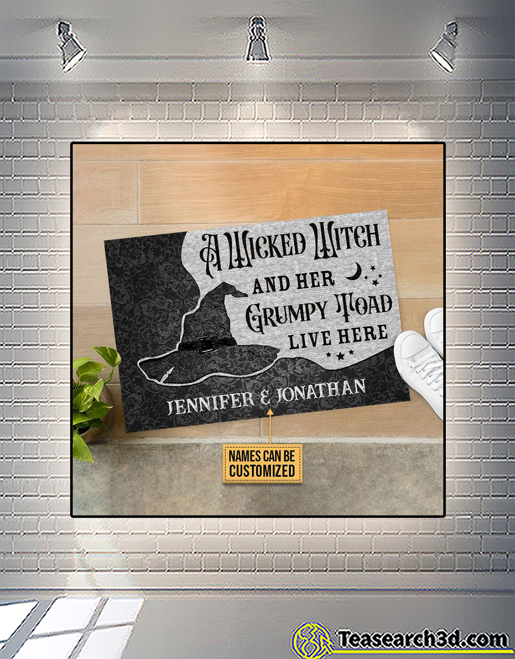 Personalized custom name a wicked witch and her grumpy toad live here doormat 1