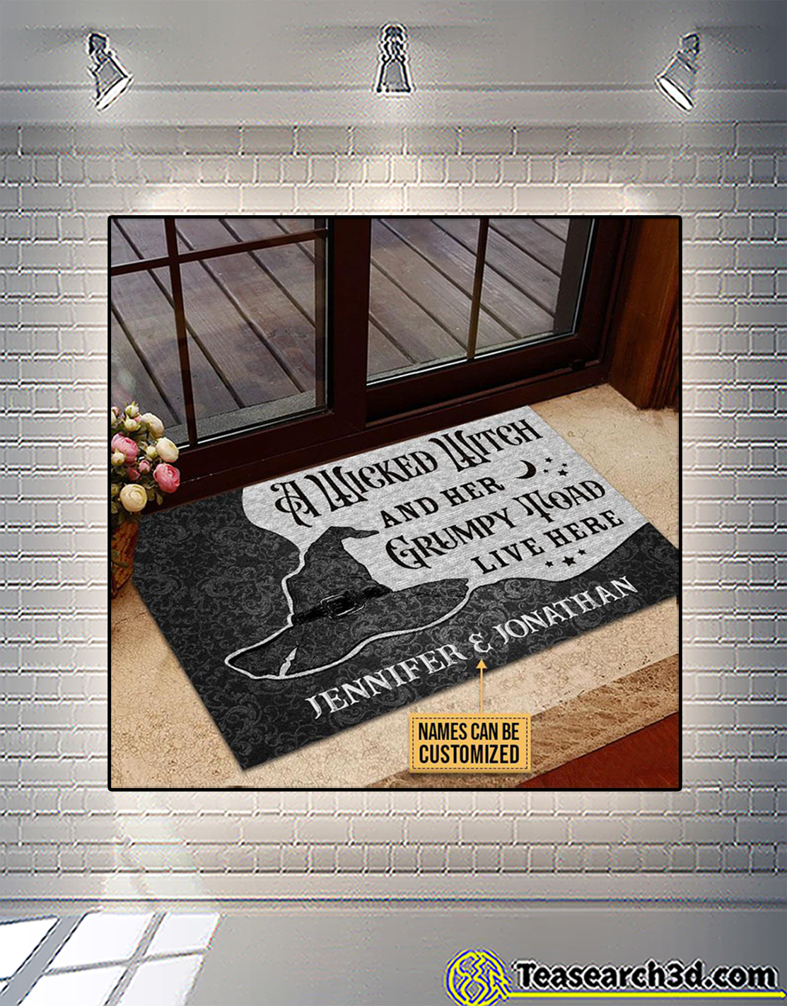 Personalized custom name a wicked witch and her grumpy toad live here doormat