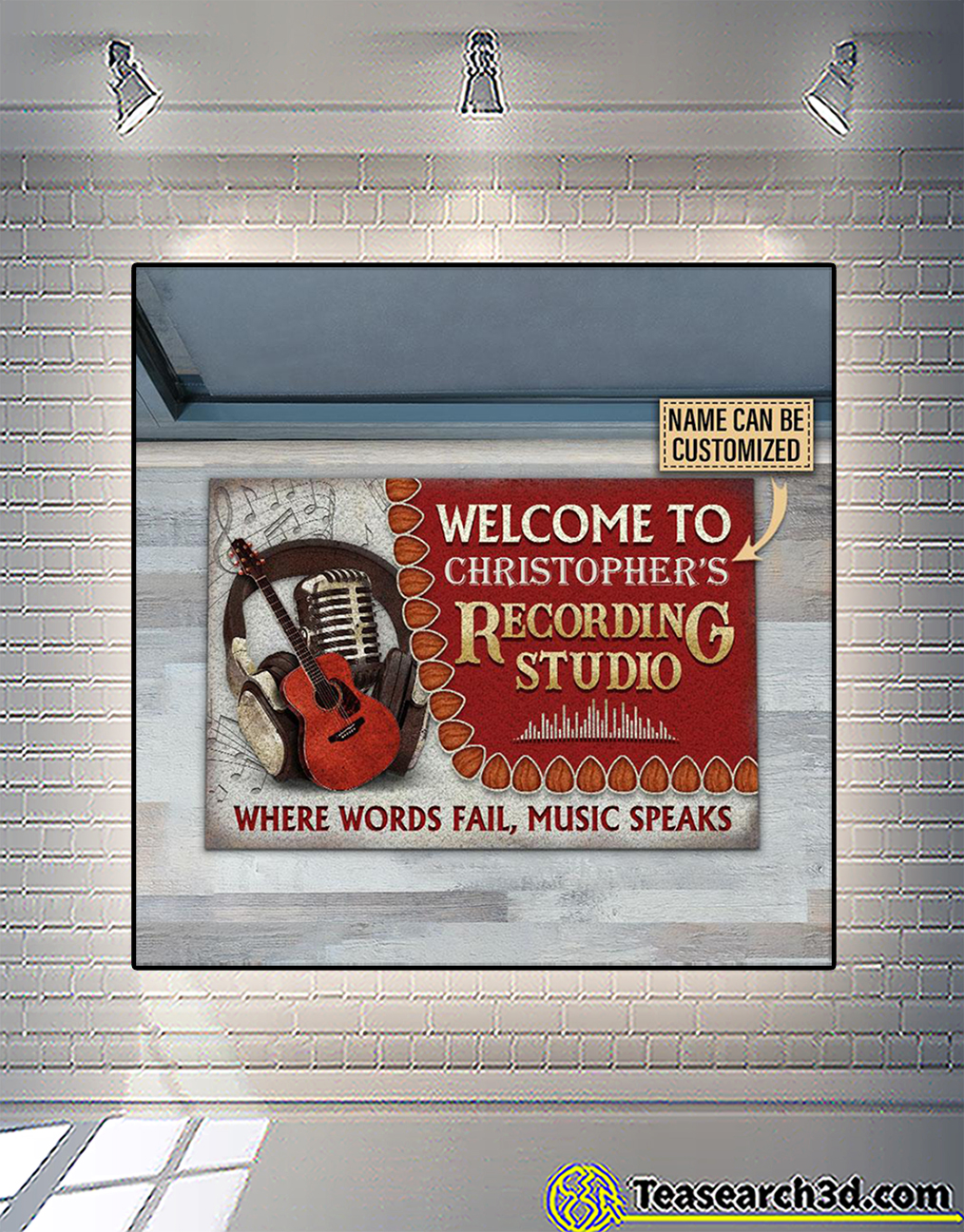Personalized custom name acoustic guitar welcome to recording studio doormat 1