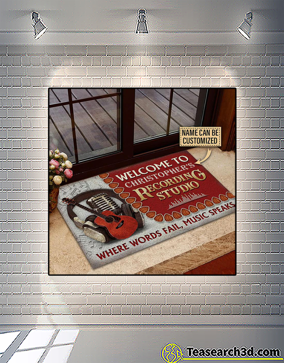 Personalized custom name acoustic guitar welcome to recording studio doormat